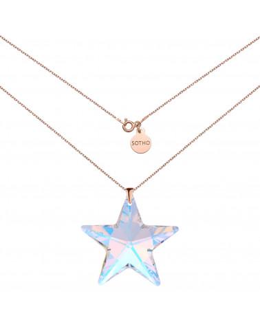 Naszyjnik z różowego złota z dużą gwiazdą SWAROVSKI® CRYSTAL