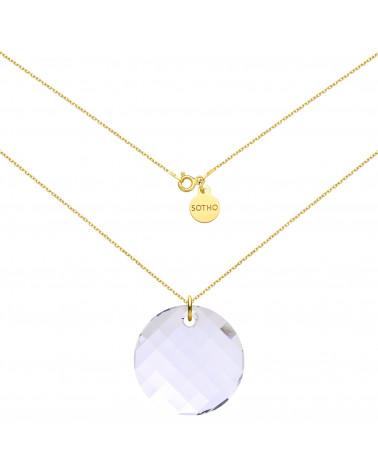 Złoty naszyjnik z okrągłym kryształem SWAROVSKI® CRYSTAL