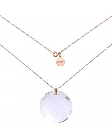 Naszyjnik z różowego złota z okrągłym kryształem SWAROVSKI® CRYSTAL