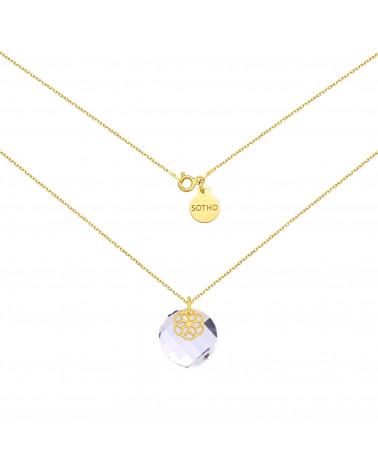 Złoty naszyjnik z kryształem SWAROVSKI® CRYSTAL i rozetką