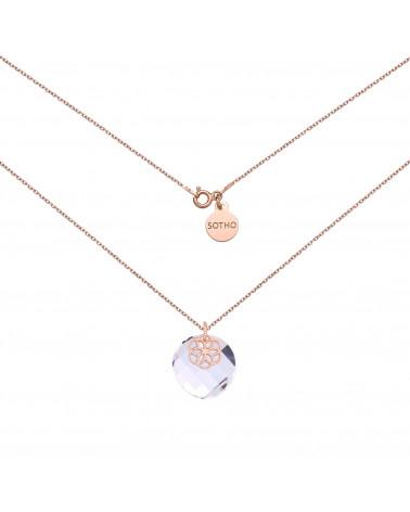 Naszyjnik z różowego złota z kryształem SWAROVSKI® CRYSTAL i rozetką