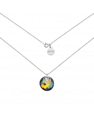 Srebrny naszyjnik z kryształem SWAROVSKI® CRYSTAL i rozetką