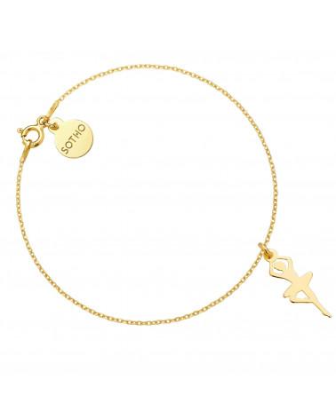 Złota bransoletka z baletnicą