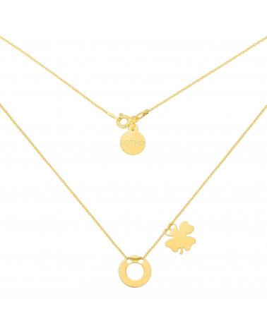 Złoty naszyjnik z dwoma zawieszkami Karmą i koniczynką