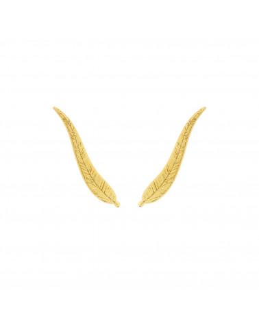 Złote kolczyki długie listki