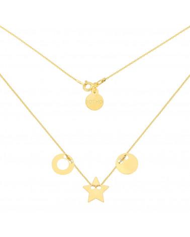 Złoty naszyjnik z trzema zawieszkami Karmami i gwiazdką