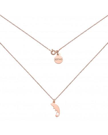 Naszyjnik z różowego złota z kameleonem