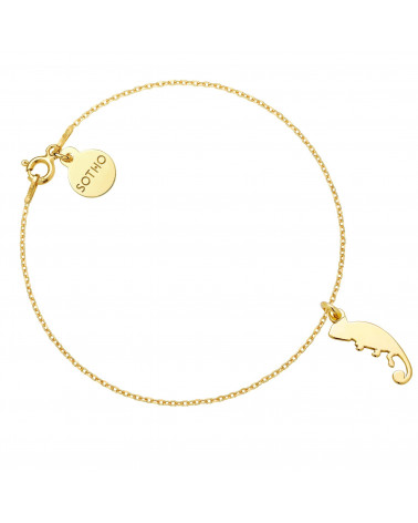 Złota bransoletka z kameleonem