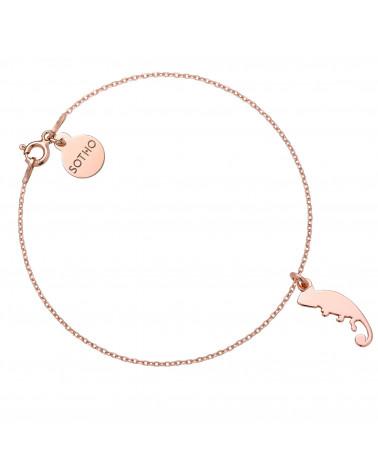 Bransoletka z różowego złota z kameleonem