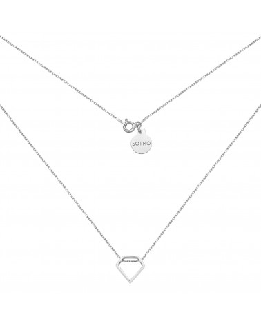 Srebrny naszyjnik z przestrzennym diamentem