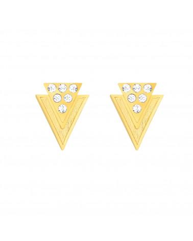 Złote kolczyki trójkąty z kryształkami SWAROVSKI® CRYSTAL