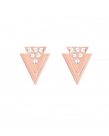 Kolczyki z różowego złota trójkąty z kryształkami SWAROVSKI® CRYSTAL